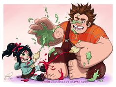 Creamy Fight by HazuraSinner.deviantart.com #fanart - Ralph and Vanellope icing fight.