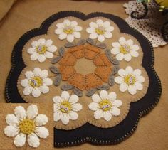 snow ladies and stars penny rug candle mat felt wool pinterest penny rugs snow and felting