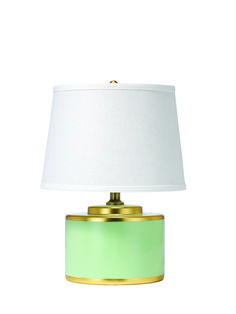 Jamie Young Basin Table Lamp Teal & Gold Ceramic lamp lends luminous lighting to bedsides and tabletops. Encircled with gold for a metallic touch, this drum-shaped fixture emanates ocean-inspired style in a soft teal palette. It's topped with a linen-weave fabric shade