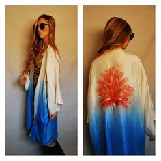 Vintage VTG Silk Robe Handmade Hand Embroidered Embroidery Peacock Dip Dye Ombre Kimono Small Medium Large One Size Fits Most