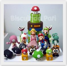Mario Bros #cake and #cake #toppers. Awesome work!