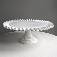 cake stand - white hobnail