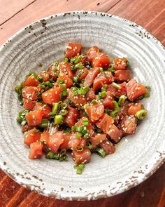 I cure my sushi cravings at home with this easy tuna poke. 🍣 sells frozen ahi tuna steaks that are perfect for this dish. Frozen Tuna Steak Recipe, Tuna Steak Recipes, Frozen Steak, Spicy Recipes, Cooking Recipes, Recipes With Fish And Shrimp, Shrimp Recipes, Tuna Poke, My Sushi