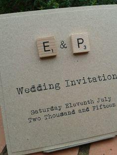 Sample quirky rustic shabby chic scrabble tile kraft wedding invitation by LittleGreenStatCo on Etsy