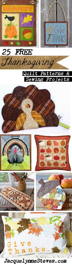The leaves are starting to change, the air is crisp… it's time to start thinking about Thanksgiving! The holiday comes much sooner for our Canadian friends than for the U., but the sentiment is the same. Here are 25 Free Thanksgiving Quilt Patterns and Thanksgiving Food Crafts, Fall Crafts, Holiday Crafts, Holiday Ideas, Embroidery Patterns Free, Quilt Patterns, Sewing Patterns, Sewing Ideas, Fall Sewing Projects