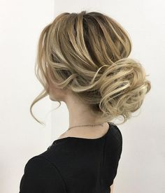 Messy updo hairstyles ,bridal updo haistyles ,messy chignon #weddinghairstyles