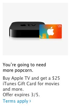 Apple Stores discounting Apple TV w/ $25 iTunes card ahead of new hardware rumored for spring