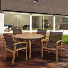 Shop for Amazonia Teak Luna 5-piece Teak Round Patio Dining Set with Brown Textile Sling. Get free delivery at Overstock.com - Your Online Garden