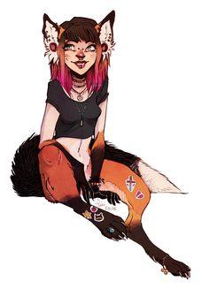 "foxy by fukari on deviantart -- ""my half-fox sona, a bit more modern than usual c:"""