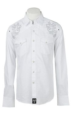 0fcd0a01f2c Rock47 By Wrangler Men s White Embroidered Pearl Snap Western Shirt