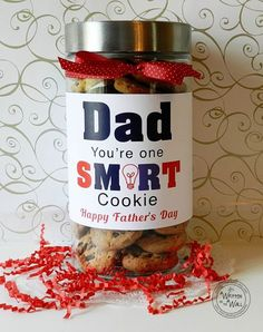 Dad You're One Smart Cookie / Happy Father's Day Gift / Father's Day Gift Label / Cookies for Dad / Smart Dad / Gift Ideas for Father's Day Father's Day gift. Cookies for dad. Dad, you're one smart cookie label. Love you dad. Fathers Day Presents, Fathers Day Crafts, Happy Fathers Day, Diy Gifts For Fathers Day, Dad Crafts, Diy Father's Day Gift Ideas From Daughter, Ideas For Father's Day, Diy Gifts Dad, Homemade Dad Gifts