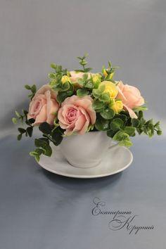 Купить Интерьерная композиция из полимерной глины Желто-розовый букет - розовый, розовые розы