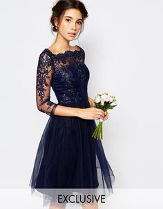 Image 1 ofChi Chi London Bardot Neck Midi Dress with Premium Lace and Tulle Skirt
