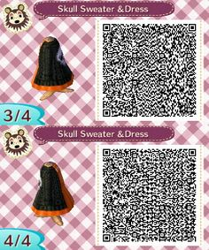 Dress with Cable Knit Skull Sweater More Halloween stuff here. Motif Acnl, Skull Sweater, Ac2, Animal Crossing Game, New Leaf, Coding, Halloween, Qr Codes, Animals