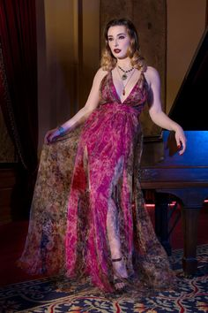 Sheerly Romantic Gown with Organza Overlay - Goth Spring - Collections | Pinup Girl Clothing