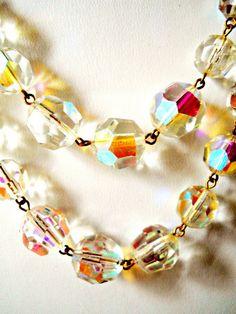 Glass Necklace W.Germany Aurora Borealis by RenaissanceFair, $31.00