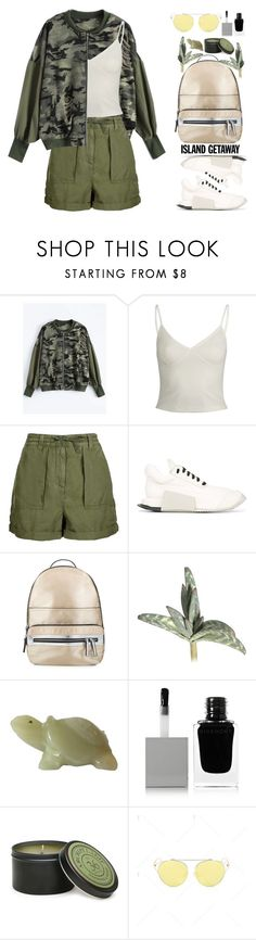 """""""Chic Island Getaway (casual)"""" by beebeely-look ❤ liked on Polyvore featuring Topshop, Rick Owens, Miss Selfridge, Gold Eagle, Givenchy, Archipelago Botanicals, casual, camouflage, camostyle and islandgetaway"""