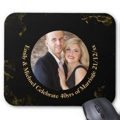 #40th PHOTO Wedding Anniversary Black Gold Marble Mouse Pad - #wedding gifts #marriage love couples