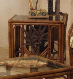 Cancun Palm Rattan  Wicker End Table  Glass -- Click on the image for additional details.Note:It is affiliate link to Amazon.