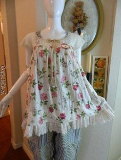 Heirlooms OOAK magnolia floral french eyelet ruffle pearl white tunic | Clothing, Shoes & Accessories, Women's Clothing, Tops & Blouses | eBay!