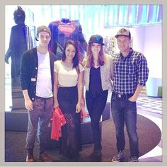 Grant Gustin, Candice Patton, Danielle Panabaker, and Rick Cosnett touring DC comics the crew