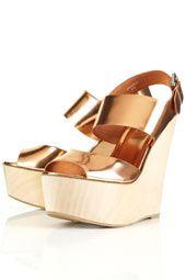 TOP SHOP SHOES WOWZA Metallic Wood Heel Wedges