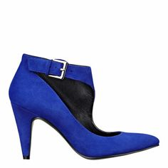 """As seen in the September issue of Better Homes & Gardens.....Pointy toe pump with buckle detail on a 3"""" heel"""