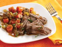 Hungry Girl  Crock-Pot Roast 1/12th of recipe (about 2 1/2 ounces cooked meat with 2/3 cup broth and veggies): 206 calories, 7g fat, 447mg sodium, 11g carbs, 2g fiber, 4.5g sugars, 25.5g protein PointsPlus® value 5*