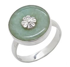 Himalayan Gems Jade & Floral Sterling Silver Ring TSC Item: 467-270