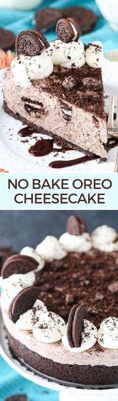 No Bake Oreo Cheesecake - thick, creamy and packed with Oreos!!
