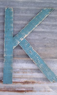 Turquoise wood letter