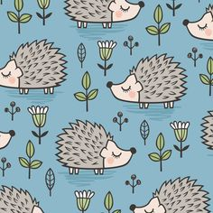 Leaves And Hedgehogs Fabric - Hedgehog With Leaves And Flowers On Navy By Caja Design - Wildlife Cotton Fabric By The Metre by Spoonflower Double Gauze Fabric, Cotton Twill Fabric, Chiffon Fabric, Fleece Fabric, Satin Fabric, Custom Fabric, Cotton Canvas, Blue Fabric, Polyester Satin