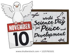 Flying dove holding a loose-leaf calendar with reminder date for World Science Day for Peace and Development in November World Science Day, Calendar Reminder, Hold On, November, Royalty Free Stock Photos, Peace, Illustration, November Born, Naruto Sad