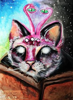 Space cat, kitty , galaxies , space , aliens, art , poster, print, home decor, wall art, trippy, kitties, eyes, outerspace , cats , kittens