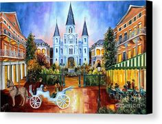The Hours On Jackson Square Painting by Diane Millsap - The Hours On Jackson Square Fine Art Prints and Posters for Sale Square Art, Square Canvas, Canvas Art, Canvas Prints, Art Prints, Mardi Gras, New Orleans Art, New Orleans French Quarter, Jackson Square
