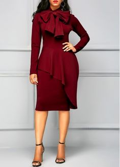Long Sleeve Tie Neck Peplum Waist Dress | Rosewe.com - USD $34.88