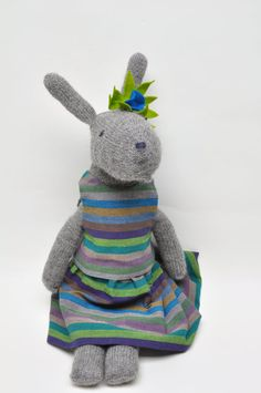 Frankie Knitted Rabbit Hand Knit Bunny OOAK by WilleWorks on Etsy