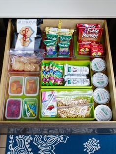 A snack drawer in the kitchen - easy access for Mom, Dad, and Little Bit. Don't put the whole can of pringles in here or Dad will get them!