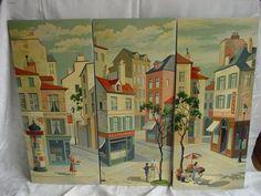 3pc EXC RARE Mid Century Paint by Number Paris Street Scene Hotel Cafe Vendors | eBay