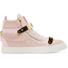 Giuseppe Zanotti SSENSE Exclusive Pink Croc-Embossed Leather Ringo... ($780) ❤ liked on Polyvore featuring shoes, sneakers, leather shoes, metallic sneakers, pink shoes, high top shoes and pink sneakers