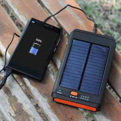2-in-1 Solar Charger + Flashlight - 11200mAh, 4 x Phone Connectors, 8 x Laptop Connectors, 18 Volt 2 Watt Solar Panel