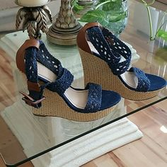 Brand new denim and leather wedge, NWOT cross at ankle denim wedge. Super comfortable. Bamboo  Shoes Wedges
