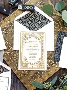 Morocan wedding invite moroccan wedding pinterest wedding ornate vintage gold foil wedding invitations design by hello tenfold stopboris Gallery