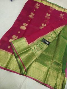 Dark pink kanchi organza silk sarees Kanchi Organza Sarees, Handloom Saree, Brocade Blouses, Silk Sarees Online, Exclusive Collection, Card Wallet, Pure Products, Dark