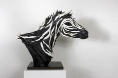 Zebra sculpture made out of tyres