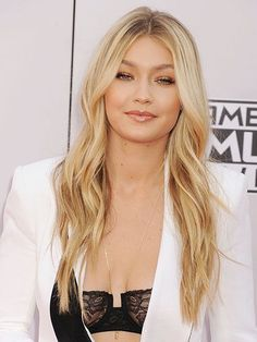 Gigi Hadid long, effortless waves with gold eyeshadow, bronzed cheeks and nude lipgloss | allure.com