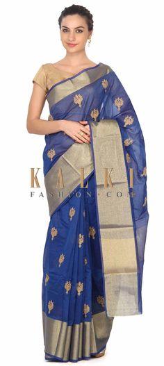 Buy this Blue chanderi saree enhanced in zari butti only on Kalki