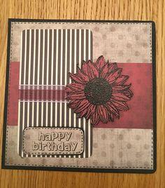 Embossed sunflower happy birthday card