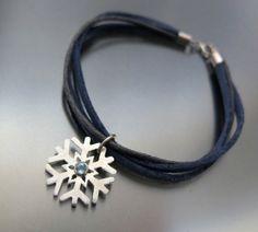 BIZOE srebrna bransoletka ŚNIEŻYNKA z akwamarynem w BIZOE na DaWanda.com