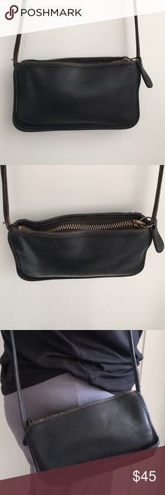 """Vintage Coach Black Legacy Bag  made in NYC Vintage Coach Black Legacy Bag  made in NYC. Authentic. It measures 8.5"""" x 5"""" inches. Strap is 46"""" inches. Bag has signs of wear and patina due to bags age. Please look at pictures for better reference. Happy shopping!! Coach Bags Crossbody Bags"""
